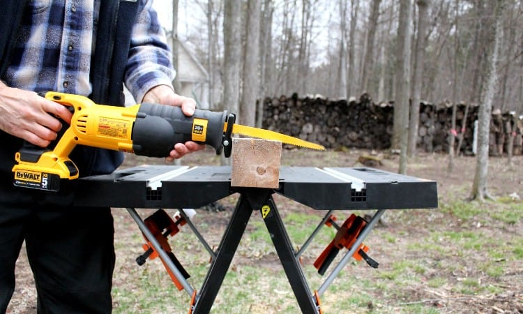 Cut 4 x 4 lumber with reciprocating saw