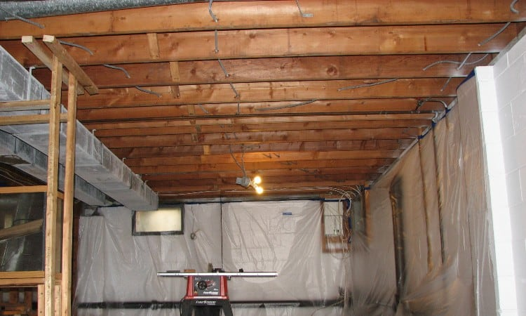 Exposed basement ceiling