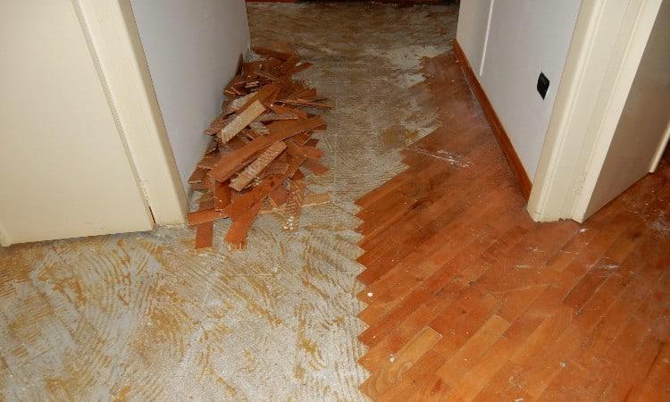 Glued hardwood floor removal