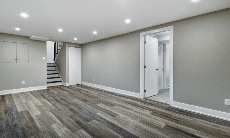 Outlet height finished basement